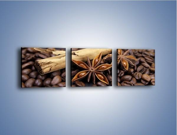 Obraz na płótnie – Ziarna kawy z goździkami – trzyczęściowy JN351W1
