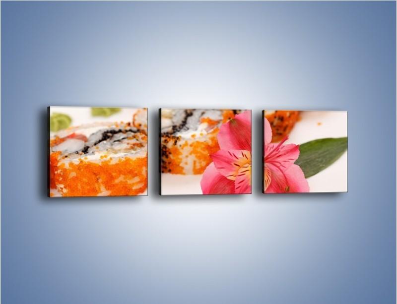 Obraz na płótnie – Sushi z kwiatem – trzyczęściowy JN354W1