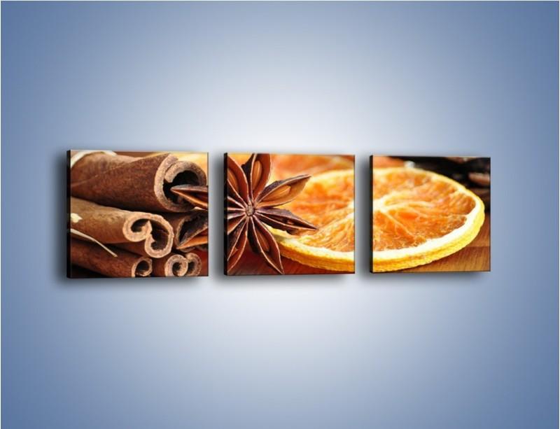 Obraz na płótnie – Pomarańcza z dodatkami – trzyczęściowy JN357W1