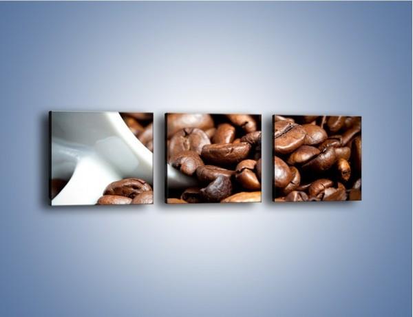 Obraz na płótnie – Ziarna kawy w kubku – trzyczęściowy JN367W1
