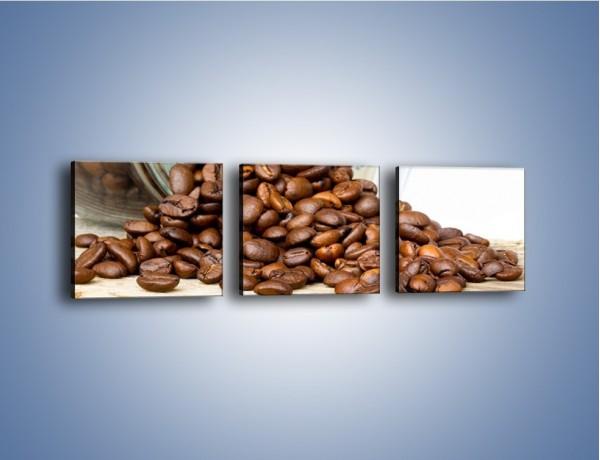 Obraz na płótnie – Ziarna kawy w słoiku – trzyczęściowy JN368W1