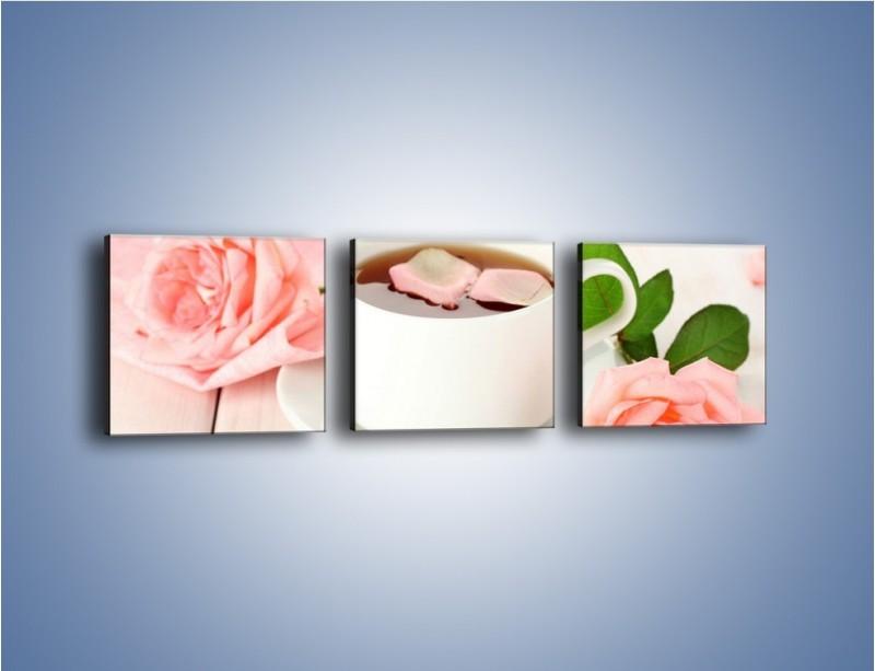 Obraz na płótnie – Herbata wśród róż – trzyczęściowy JN369W1