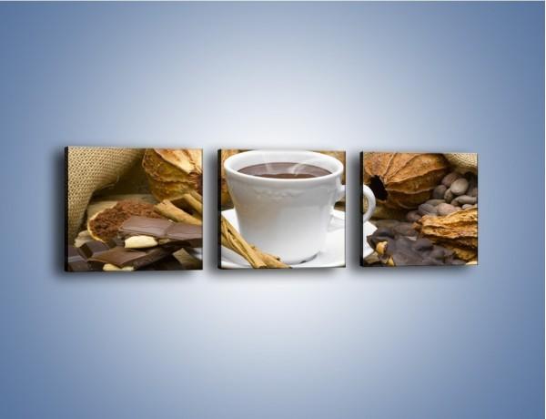 Obraz na płótnie – Kawa z orzechami i czekolada – trzyczęściowy JN387W1