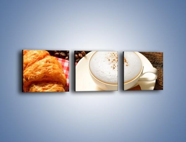 Obraz na płótnie – Spieniona kawa z rogalem – trzyczęściowy JN401W1
