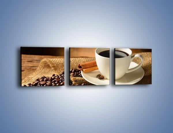 Obraz na płótnie – Kawa w białej filiżance – trzyczęściowy JN406W1