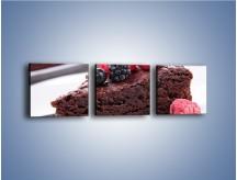 Obraz na płótnie – Czekoladowe brownie z owocami – trzyczęściowy JN408W1