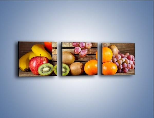 Obraz na płótnie – Skrzynia wypełniona owocami – trzyczęściowy JN424W1