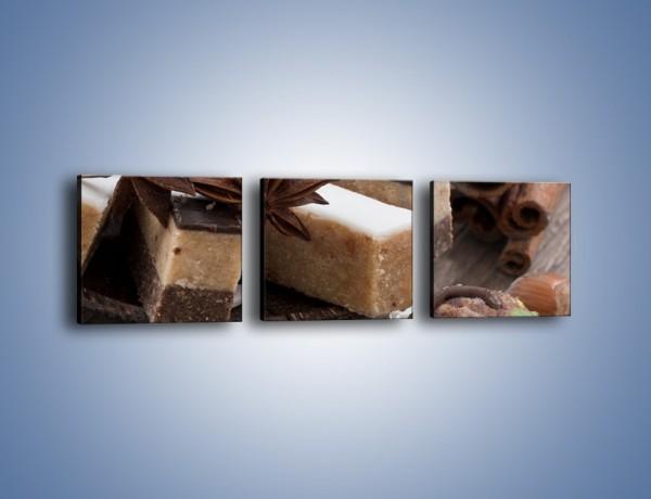 Obraz na płótnie – Czekoladowo-orzechowe wypieki – trzyczęściowy JN427W1