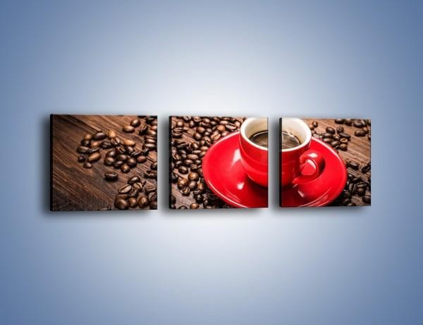 Obraz na płótnie – Kawa w czerwonej filiżance – trzyczęściowy JN441W1