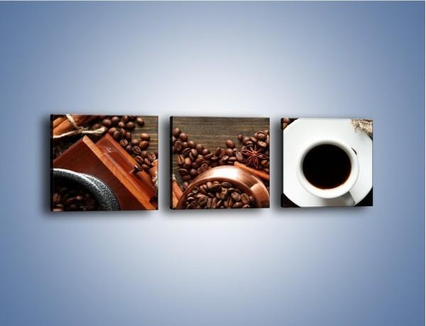 Obraz na płótnie – Serce biel i kawa – trzyczęściowy JN447W1