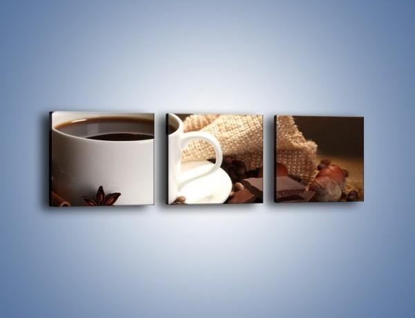 Obraz na płótnie – Kawa z dodatkiem czekolady – trzyczęściowy JN453W1