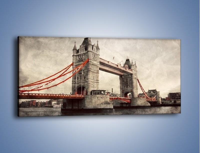 Obraz na płótnie – Tower Bridge w stylu vintage – jednoczęściowy panoramiczny AM668