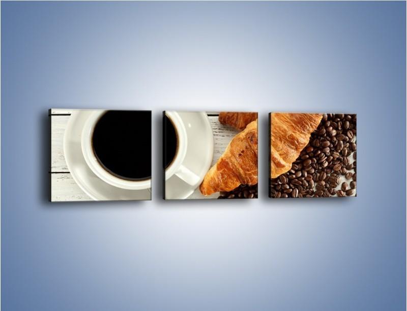 Obraz na płótnie – Kawa na białym stole – trzyczęściowy JN462W1