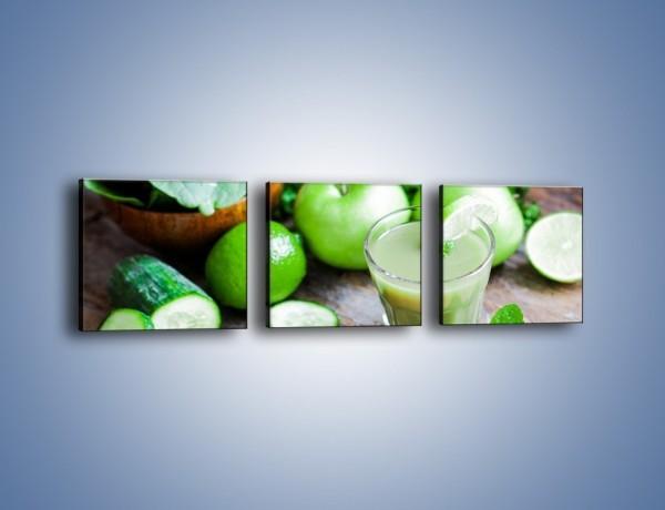 Obraz na płótnie – Koktail pełen zielonego zdrowia – trzyczęściowy JN545W1