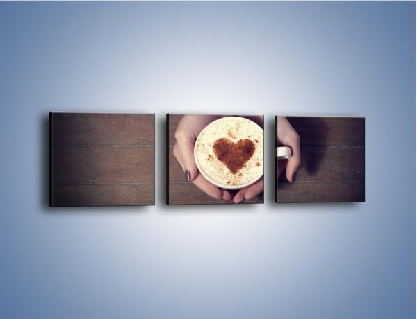 Obraz na płótnie – Kawa z ciepłym dotykiem – trzyczęściowy JN548W1