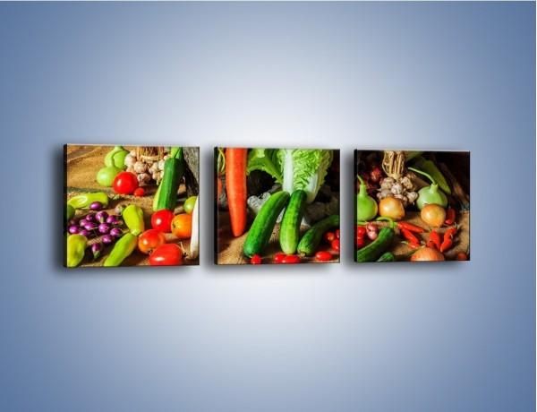 Obraz na płótnie – Warzywa na jednej nodze – trzyczęściowy JN558W1