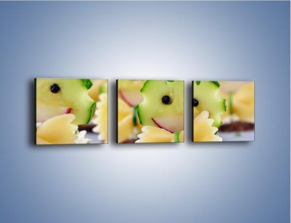 Obraz na płótnie – Ogórkowe ludki dla dzieci – trzyczęściowy JN601W1
