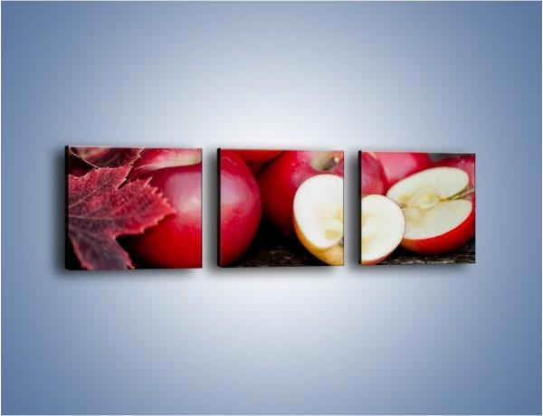 Obraz na płótnie – Czerwone jabłka późną jesienią – trzyczęściowy JN619W1