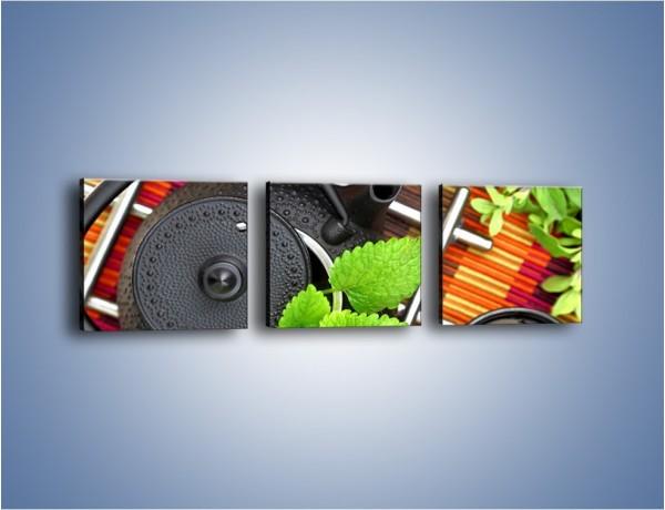 Obraz na płótnie – Dzbanek pełny herbacianych tajemnic – trzyczęściowy JN632W1