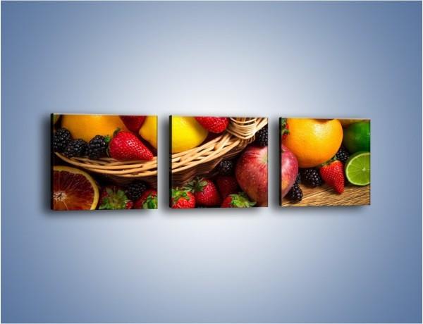 Obraz na płótnie – Kosz zatopiony w owocach – trzyczęściowy JN635W1