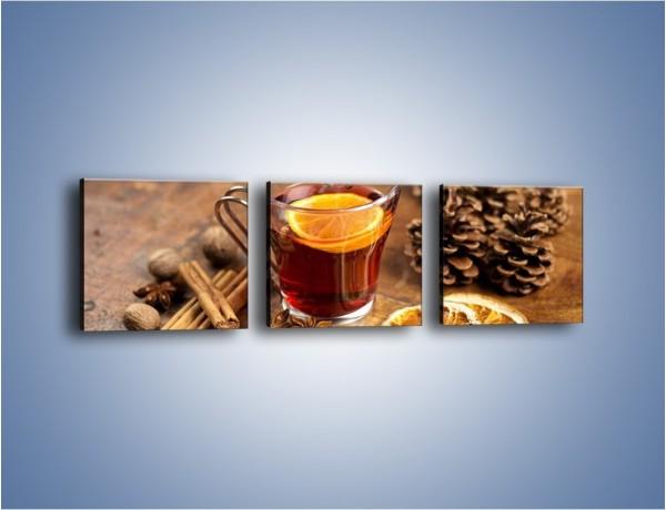 Obraz na płótnie – Zaparzona herbata z pomarańczą – trzyczęściowy JN663W1