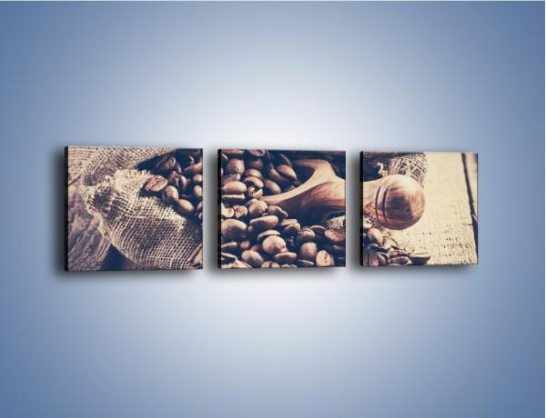 Obraz na płótnie – Odpowiednio odmierzone ziarna kawy – trzyczęściowy JN714W1