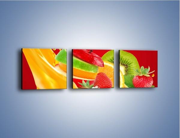 Obraz na płótnie – Wodospad z owoców – trzyczęściowy JN720W1