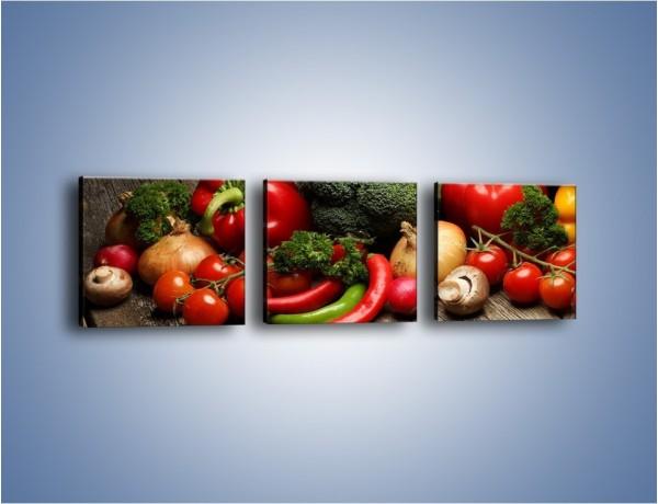 Obraz na płótnie – Warzywa w roli głównej – trzyczęściowy JN726W1