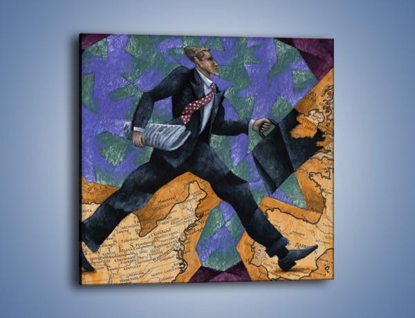 Obraz na płótnie – Dużym krokiem przez świat – jednoczęściowy kwadratowy GR081