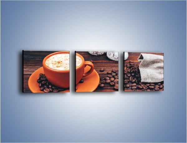 Obraz na płótnie – Kawa w pomarańczowej filiżance – trzyczęściowy JN756W1