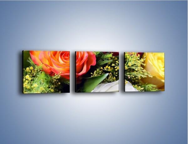 Obraz na płótnie – Róże z polnymi dodatkami – trzyczęściowy K061W1