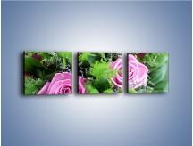 Obraz na płótnie – Bukiet róż wypełniony trawką – trzyczęściowy K068W1