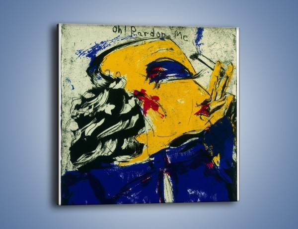 Obraz na płótnie – Dama w granacie – jednoczęściowy kwadratowy GR086