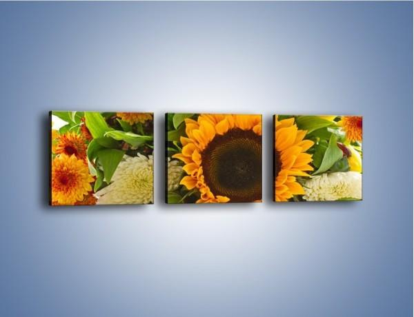 Obraz na płótnie – Łąka bukiet słoneczniki – trzyczęściowy K311W1