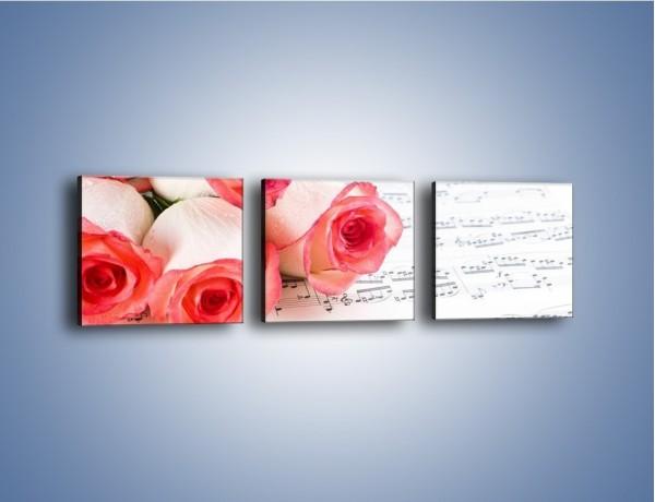 Obraz na płótnie – Najpiękniejsze melodie wśród róż – trzyczęściowy K377W1