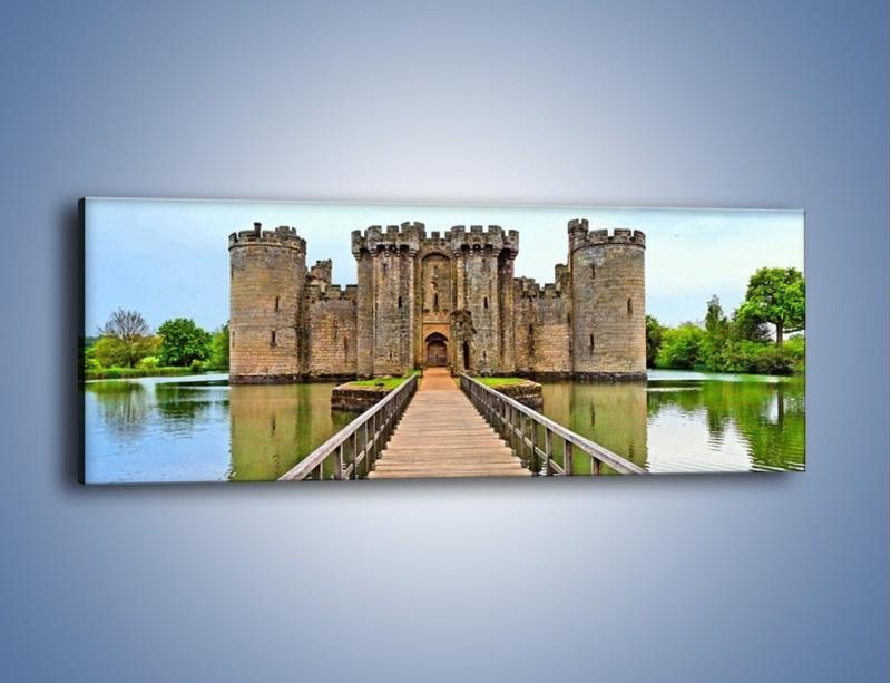 Obraz na płótnie – Zamek Bodiam w Wielkiej Brytanii – jednoczęściowy panoramiczny AM692