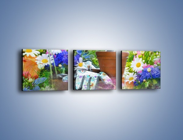 Obraz na płótnie – Kwiatowy świat mojej babci – trzyczęściowy K672W1