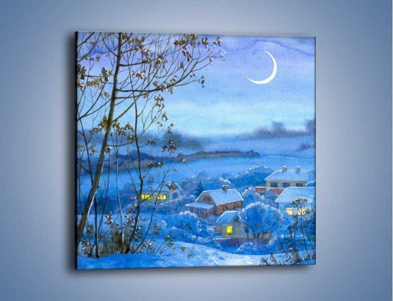 Obraz na płótnie – Domki w świetle księżyca – jednoczęściowy kwadratowy GR097