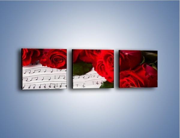 Obraz na płótnie – Różane płatkowe serce – trzyczęściowy K718W1