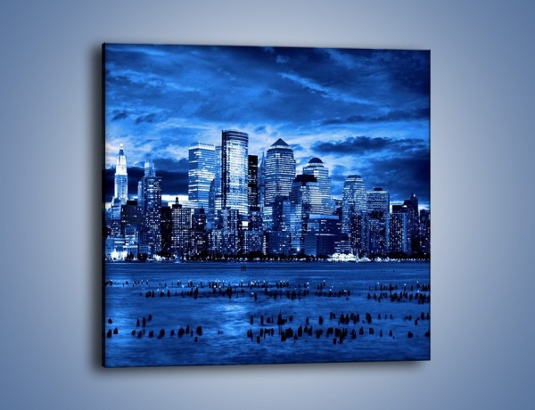 Obraz na płótnie – Wieżowce w odcieniach niebieskiego – jednoczęściowy kwadratowy AM017