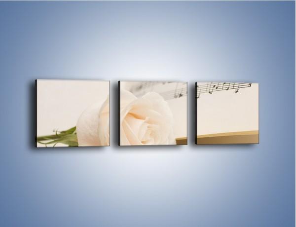 Obraz na płótnie – Fortepian z białą różą – trzyczęściowy K908W1