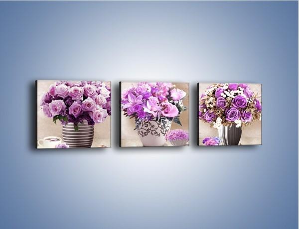 Obraz na płótnie – Kombinacje kwiatowe w trzech odsłonach – trzyczęściowy K924W1