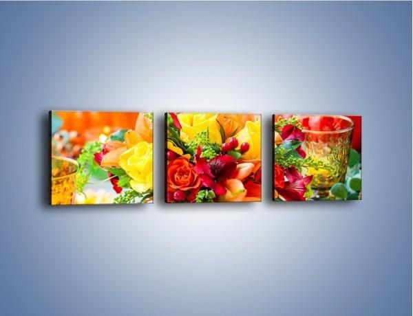 Obraz na płótnie – Jesień w bukiecie i na stole – trzyczęściowy K939W1