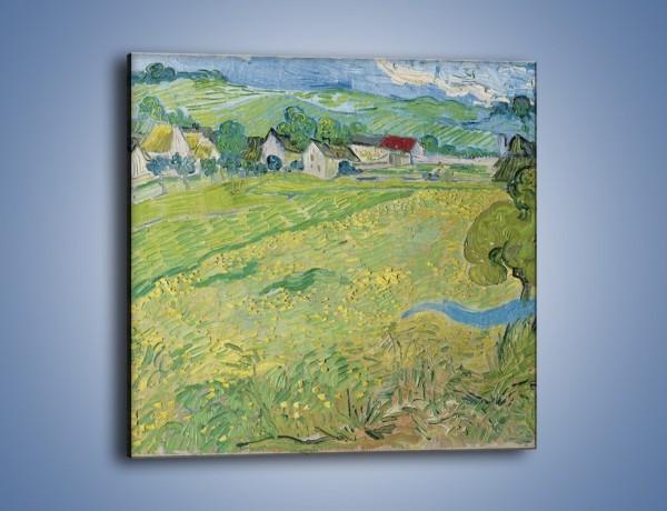 Obraz na płótnie – Łąka i małe domki – jednoczęściowy kwadratowy GR105