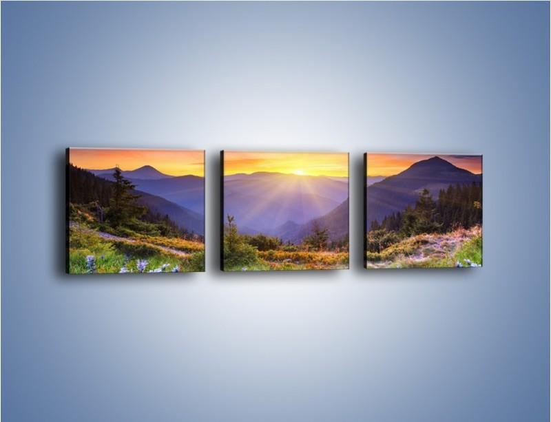 Obraz na płótnie – Góry o zachodzie słońca – trzyczęściowy KN014W1
