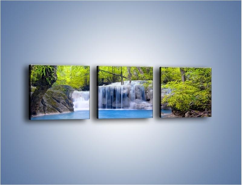 Obraz na płótnie – Mały leśny wodospad – trzyczęściowy KN057W1