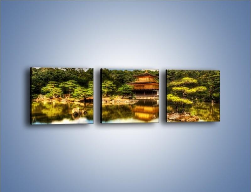 Obraz na płótnie – Widok z domu na wodę – trzyczęściowy KN1030W1