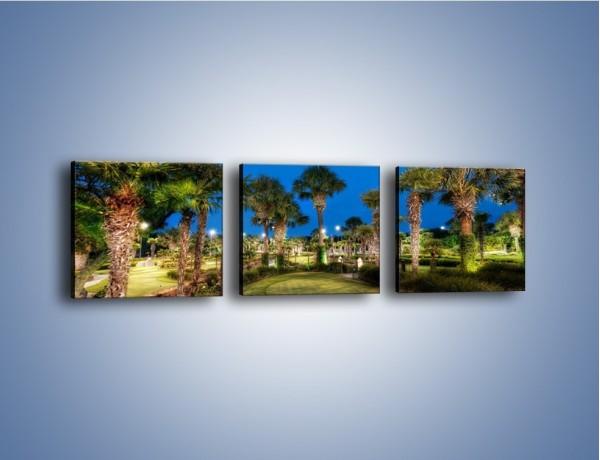 Obraz na płótnie – Zadbana wieczorna zieleń – trzyczęściowy KN1043W1