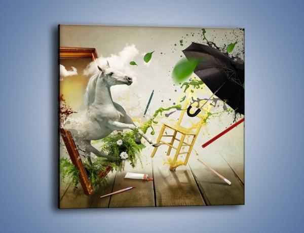 Obraz na płótnie – Koń prawie pod parasolem – jednoczęściowy kwadratowy GR119