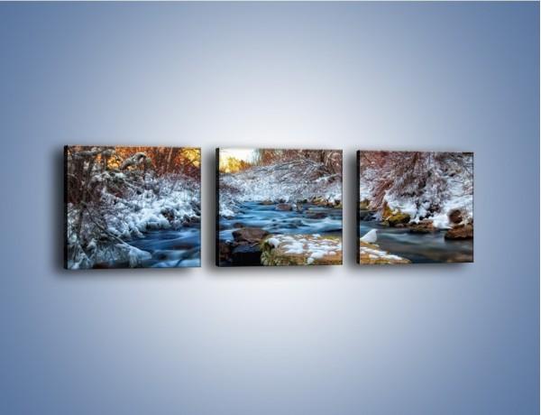 Obraz na płótnie – Resztki zimy w wodospadzie – trzyczęściowy KN1066W1